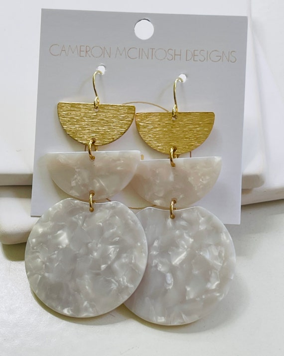 Three Tier White Acetate and Brushed Hold Half Moon Earrings