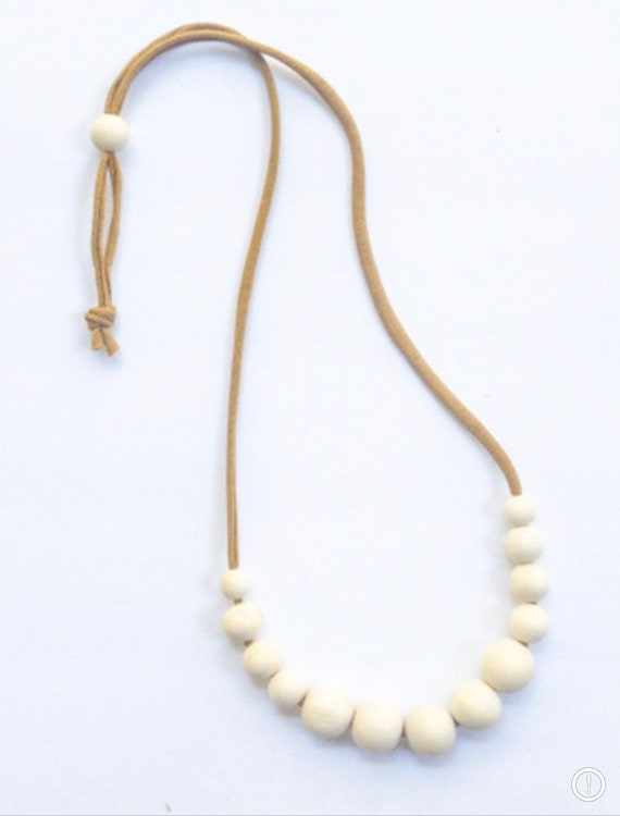 Camel Jersey Cord + Off White Wood Bead Necklace