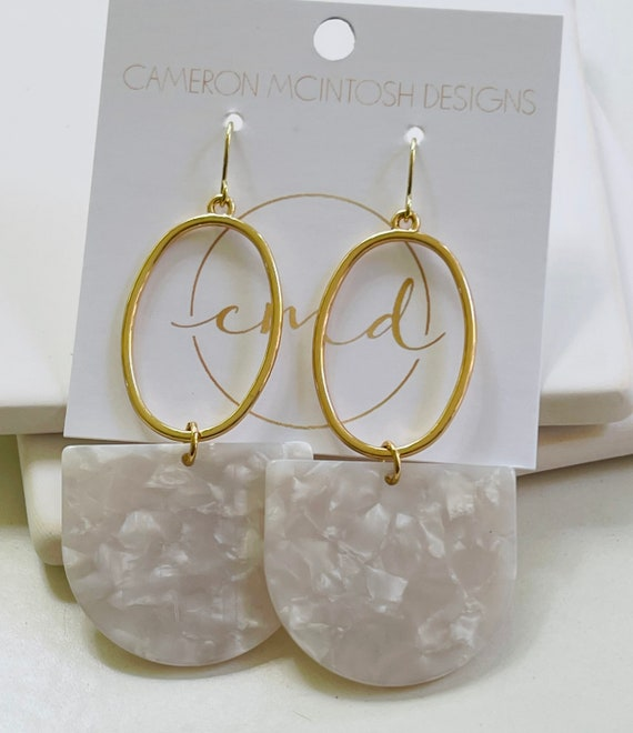 White Acetate and Gold Earrings