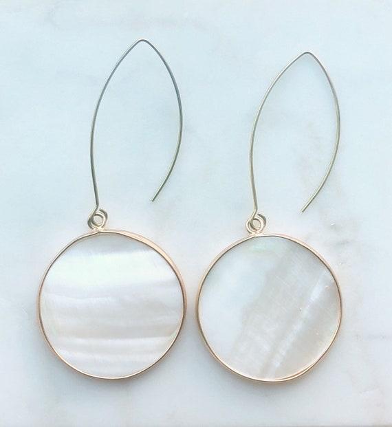 Mother of Pearl Drop Disc Earrings