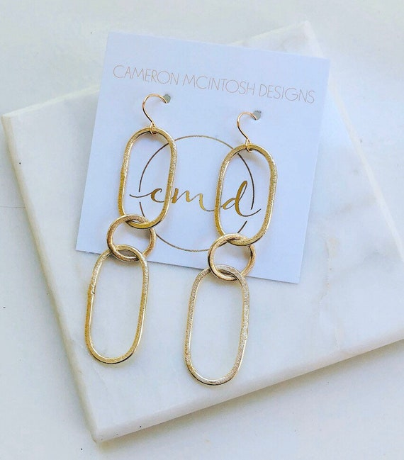 Triple Link Muted Brushed Gold Earrings