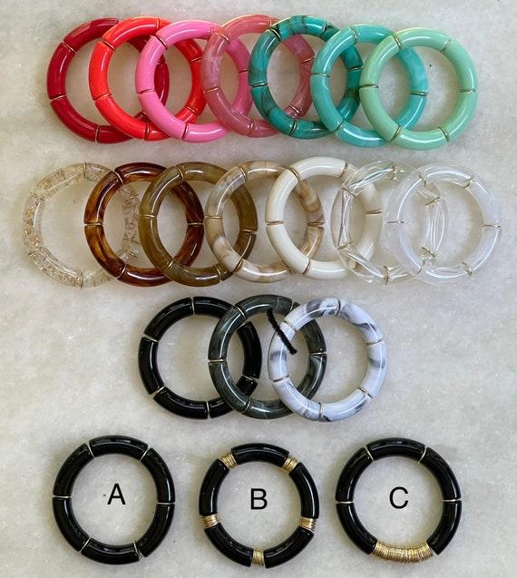 Chunky Acrylic Tube Bead Bracelets - 17 Colors and 3 Styles