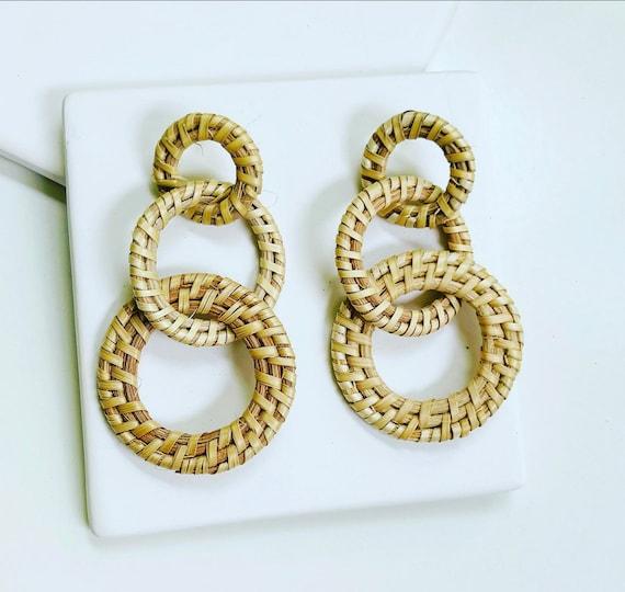 Triple Rattan Link Earrings