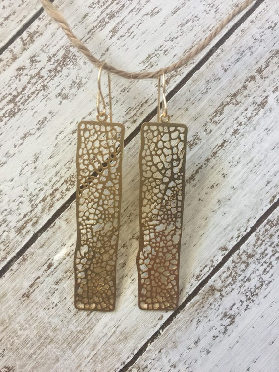 Gold Mesh Bar Earrings