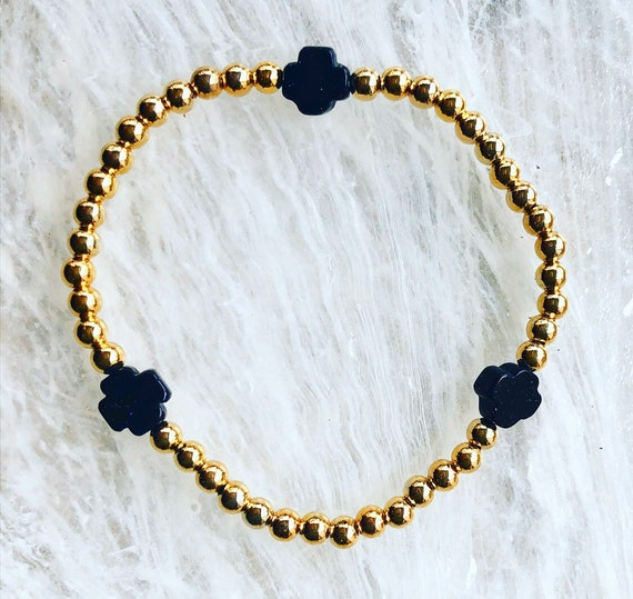 Gold Bead and Navy Cross Stretch Bracelet