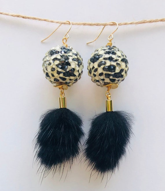 Animal Print Resin Wood Bead Earrings with Fur Pendant on Gold Filled Hook