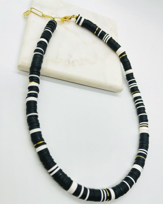Black, White and Gold Short Heishi Bead Necklace