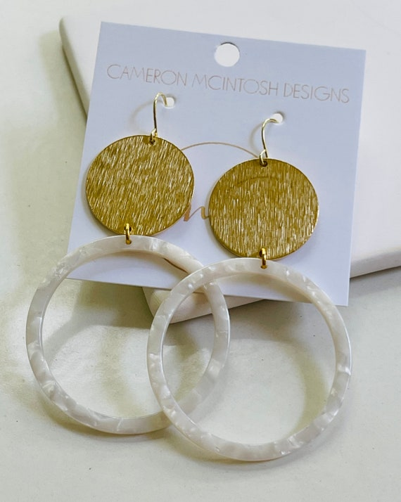 Brushed Gold Disc With White Acetate Hoop Earrings