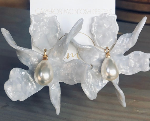 Large Flower and Teardrop Pearl Earrings