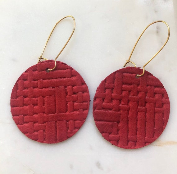 Red Basketweave Leather Disc Earring on Kidney Hook