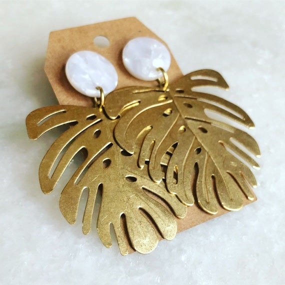 Palm and Acetate Earrings