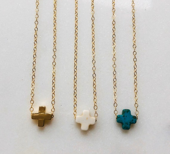 Square Cross On Dainty Gold Filled Chain