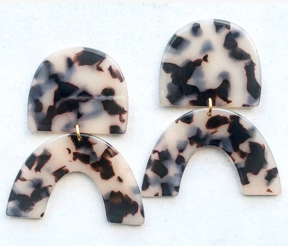 Tortoise Acetate Statement Earrings on Post