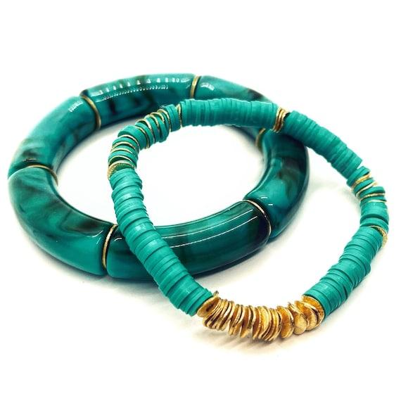 Aqua Acrylic Tube Bead or Vinyl Heshi Bead Bracelet