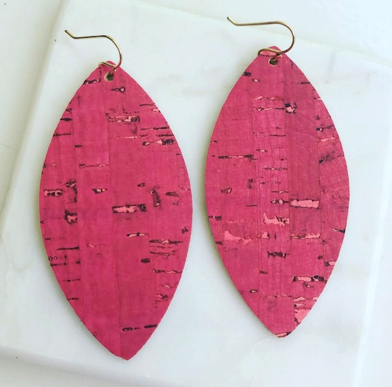 Large Pink Cork on Leather Leaf Earrings