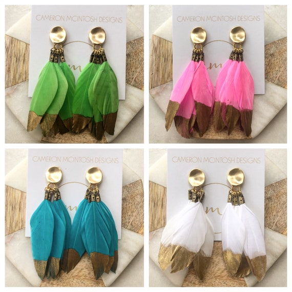 Gold Dipped Feather Earrings in Pink, White, Green or Turquoise