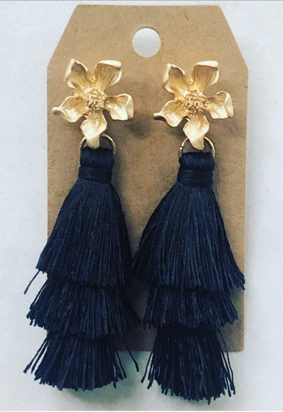 Black Tiered Tassel Earrings on Gold Flower Post