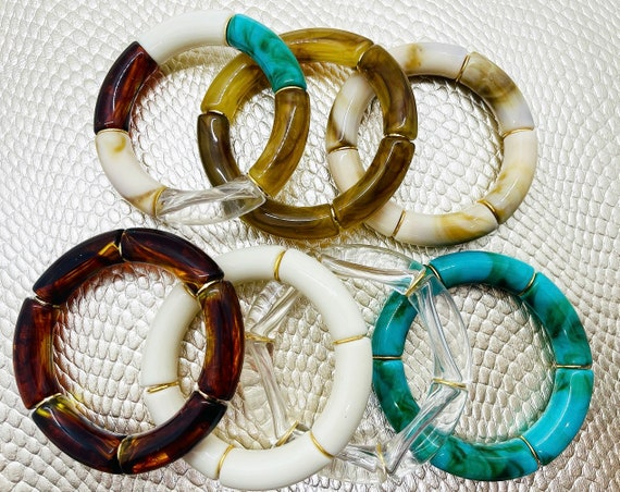Chunky Acrylic Bamboo Tube Bead Bracelets with Gold Accent