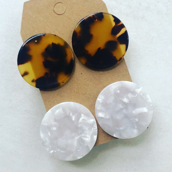 "Set of 2 Pairs of 1"" Acetate Stud Earrings - Tortoise and White"