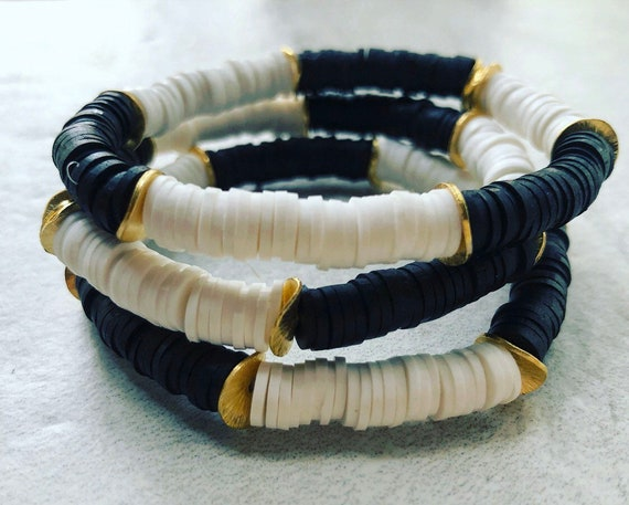 Black and White African Vinyl / Heishi and Wavy Brass Bead Bracelet