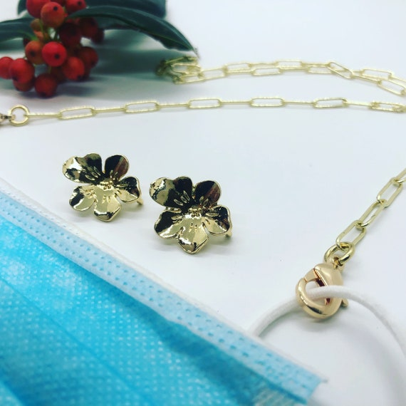 Gold Paperclip Mask Chain + Flower Stud Combo