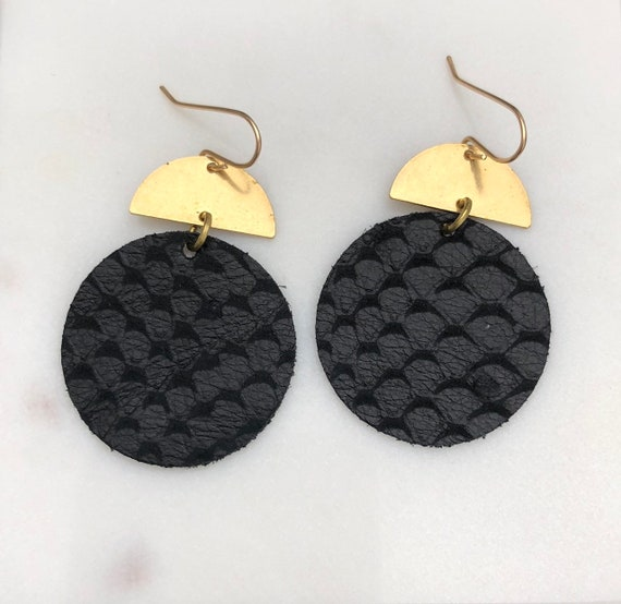 Black Snake Print Leather Disc and Brass Earrings