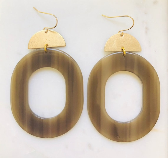 Oval Brass and Acetate Earrings on Gold Filled Hook