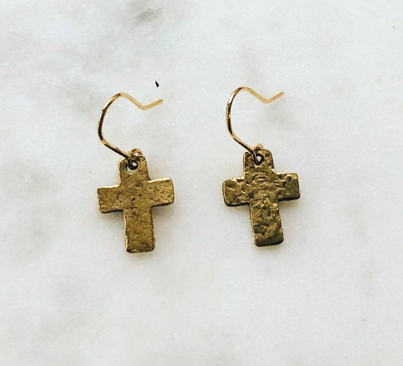 Little Girls Small Cross Dangle Earrings on Gold Filled Hook
