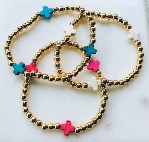Little Girls Gold Beaded Cross Bracelet with Hot Pink, White Turquoise or Blue Turquoise Square Cross
