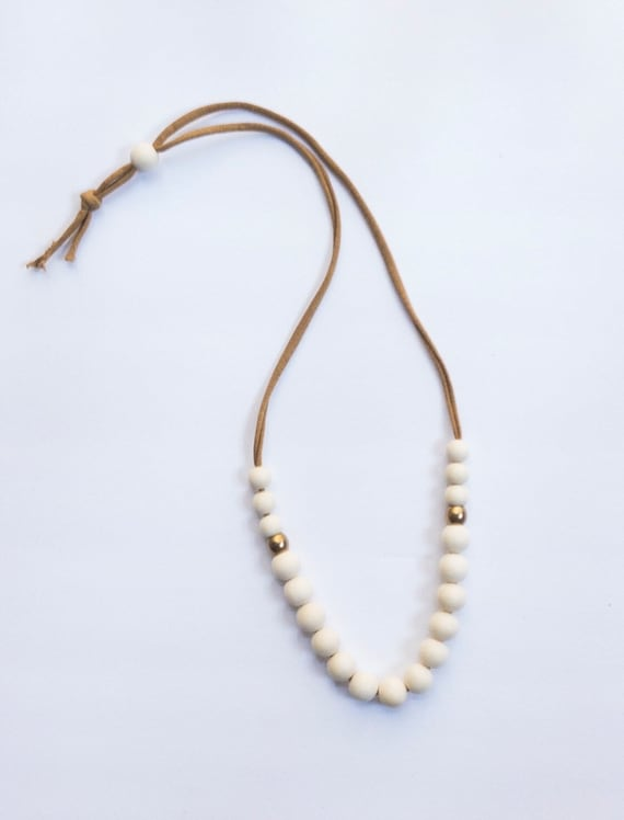 Camel Jersey Cord + Off White Wood/Brass Bead Necklace