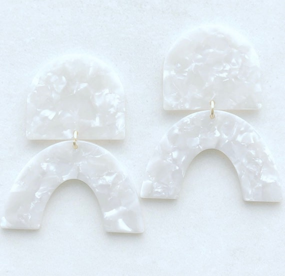 White Acetate Statement Earrings on Post