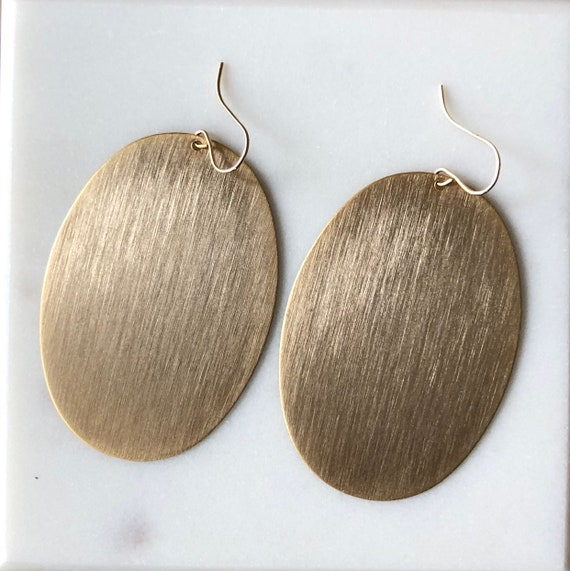 Large Gold Oval Metal Earrings on Gold Filled Ear Wire