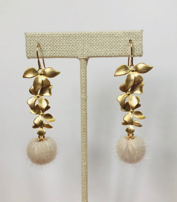 Flower Earrings with Fur Pendant on Gold Filled Ear Wires