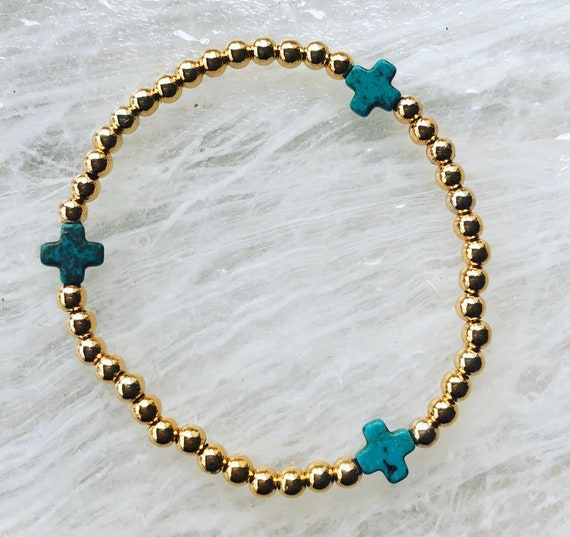 Gold Filled Bead and Turquoise Blue Cross Bracelet