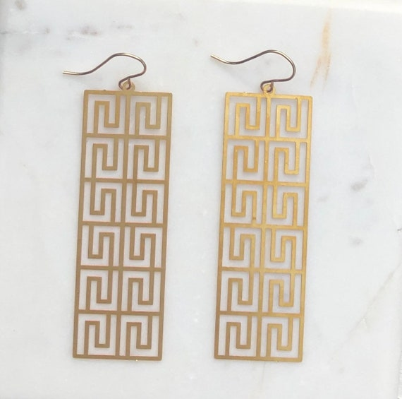 Large Gold Rectangular Earrings on Gold Filled Hooks