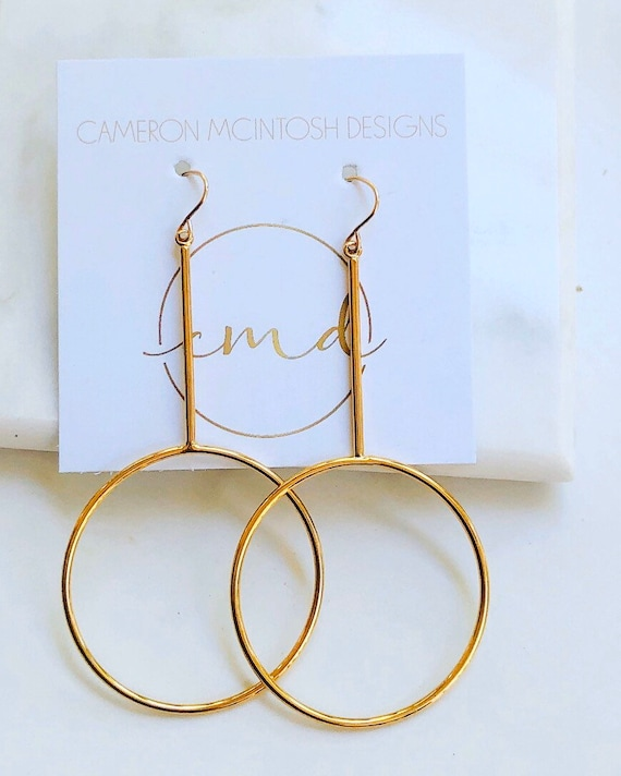 Long Circle and Bar Gold Earrings - CLEARANCE