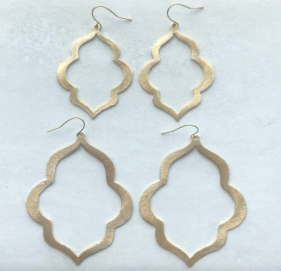 Brushed Gold Keyhole Earrings - Choose Size