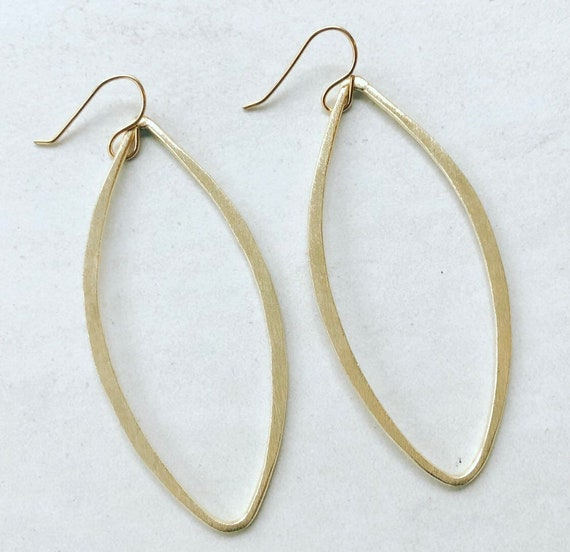 Brushed Gold Marquis Earrings on Gold Filled Hook