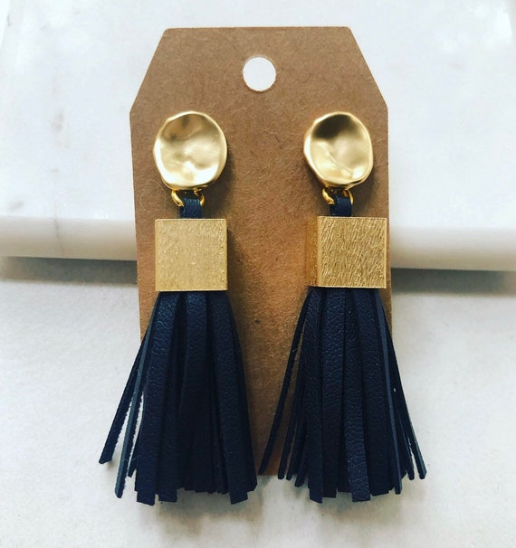 Black Leather Tassel Earrings on Gold Post