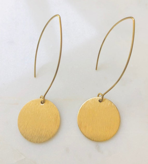 Long Gold Disk Earrings