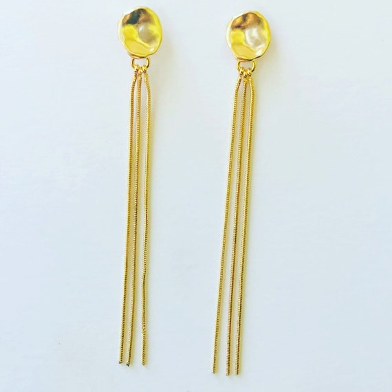 Gold Snake Chain Earrings on Gold Post