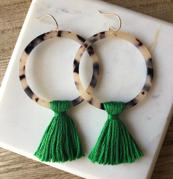 Round Tortoise Acetate Earrings with Green Tassel on Gold Filled Hooks