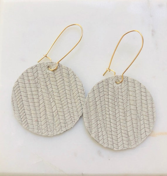 Off White Palm Textured Leather Disk Earrings on Kidney Hook