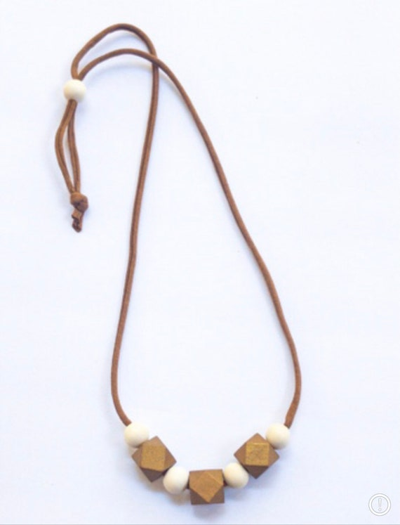 Brown Jersey Cord + Chunky Geometric Bronze/Round Off White Wood Bead Necklace