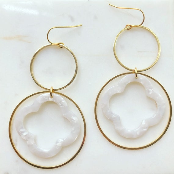 Gold Circles and White Quatrefoil Acetate Earrings