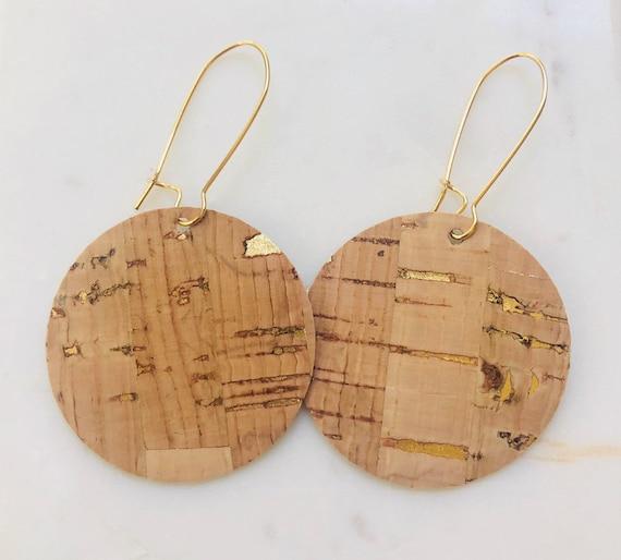 Cork and Gold Disk Earrings on Kidney Hook