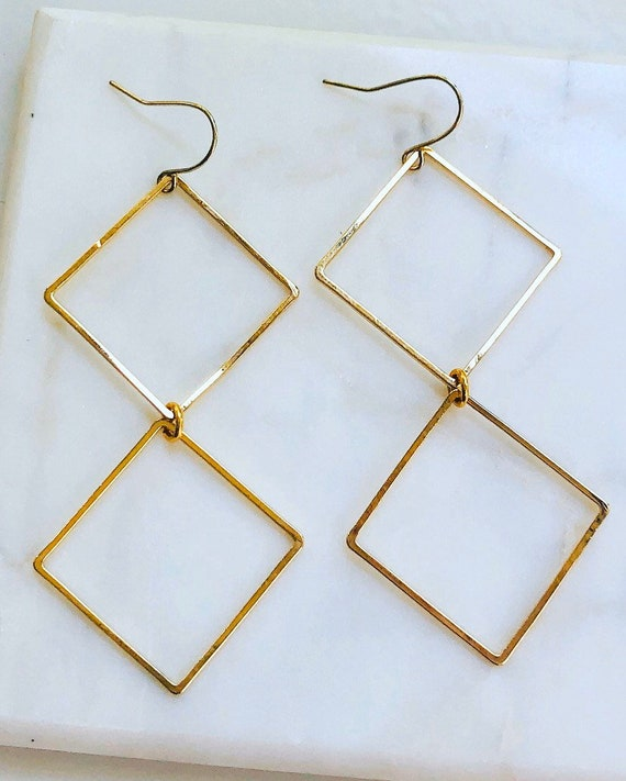 Gold Double Diamond Earrings
