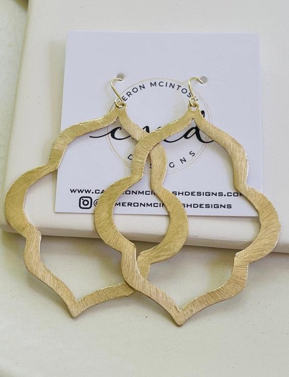 Large Brushed Gold Keyhole Earrings