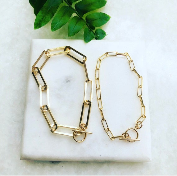 Large or Small Link Gold-Filled Paperclip Chain Bracelet with Toggle Clasp