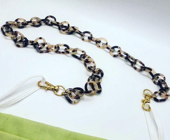 Tortoise Acrylic Mask Chain with Gold Swivel Clasps